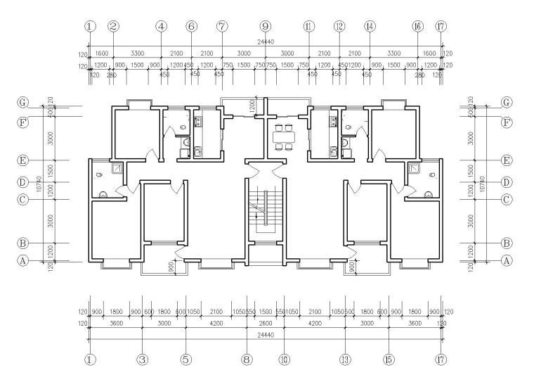 某多层住宅户型图(CAD图纸)