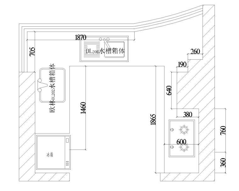 u型厨房cad图纸-原始平面图  u型厨房cad图纸-立面图1  u型厨房cad