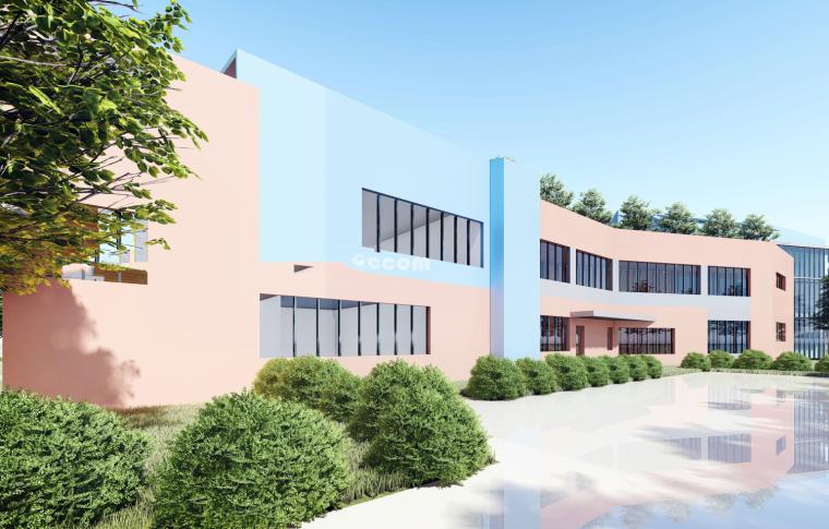 现代坡顶9班社区幼儿园建筑模型设计(2018年)