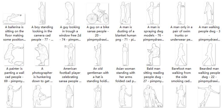 分析图素材|90张AI、CAD人物线稿素材