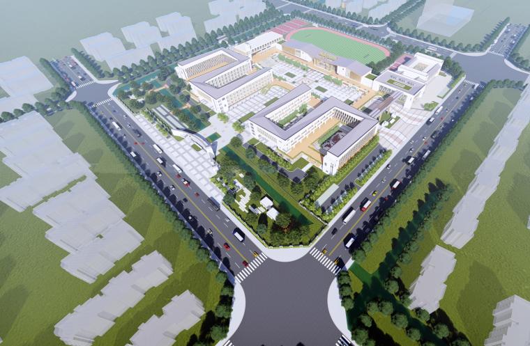 [江苏]盐城潘黄九年一贯制实验学校建筑模型设计(2018年)