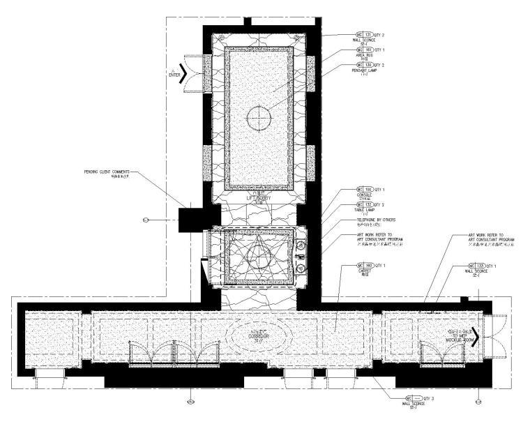 [黑龙江]HBA-哈尔滨富力丽思卡尔顿酒店电梯厅&样板房装修施工图+效果图