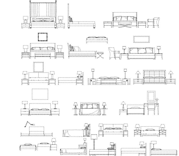 现代风格装修设计常用CAD图块