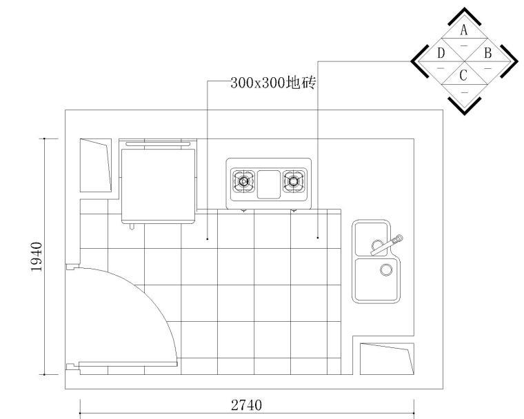 一整套L型廚房CAD施工圖設計方案