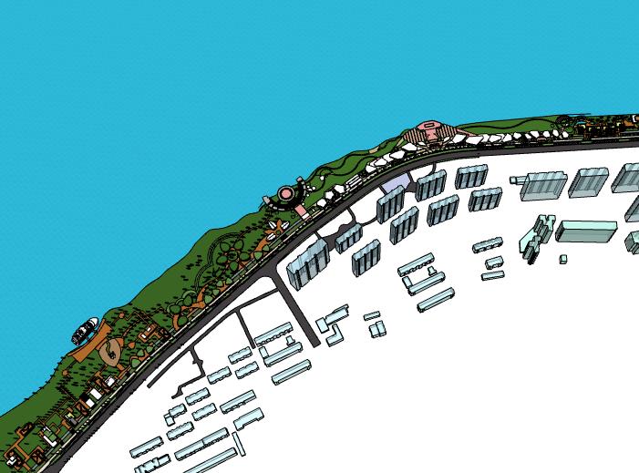 大型博物館及海邊建筑群SU模型設計