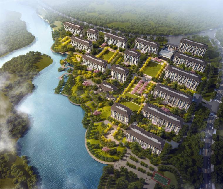 [河南]郑州新田洞林湖90亩地块建筑模型设计(中式豪宅洋房)