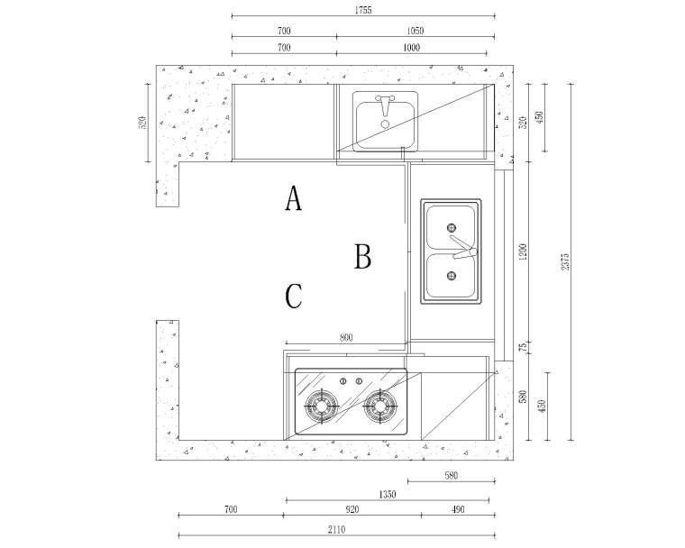 本资料为别墅中西式厨房装修设计cad施工图  别墅中厨平面