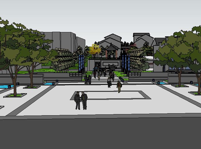 中式商业街建筑模型设计