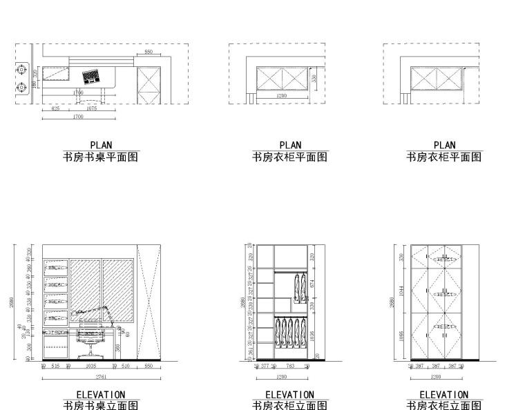 51套书柜书架设计CAD设计图纸