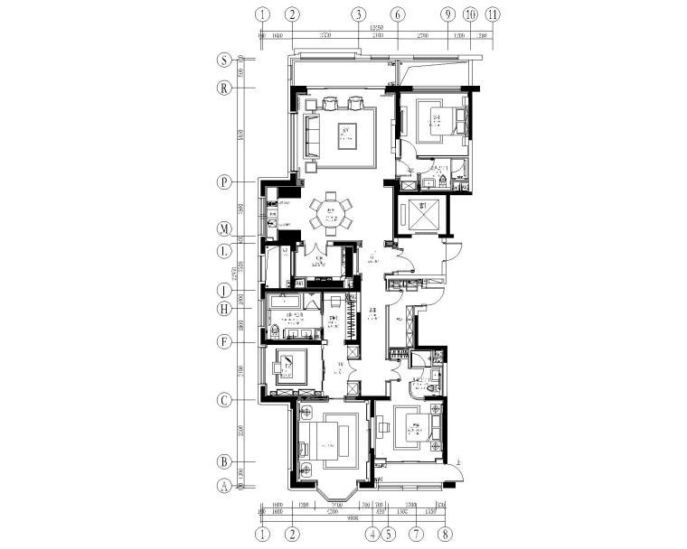 [上海]紫香舸-万科翡翠滨江3居室样板房CAD施工图+效果图
