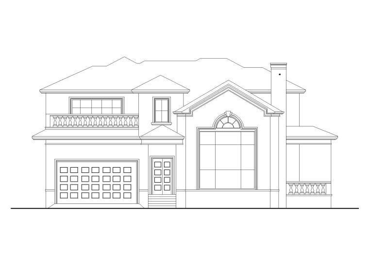 欧式风格独栋别墅建筑施工图(CAD)