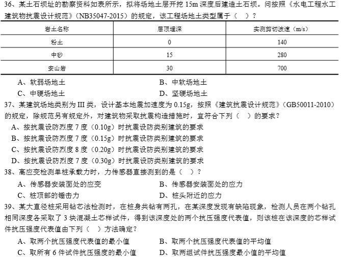 2014年全国注册岩土工程师专业考试试题 专业知识(上午卷)5