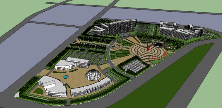 现代办公商业景观广场su模型
