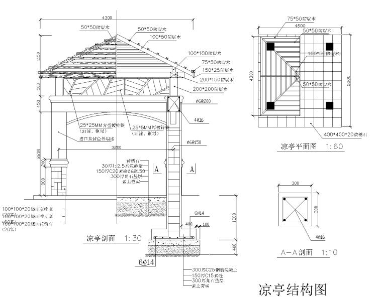 19套各式亭子施工图CAD集