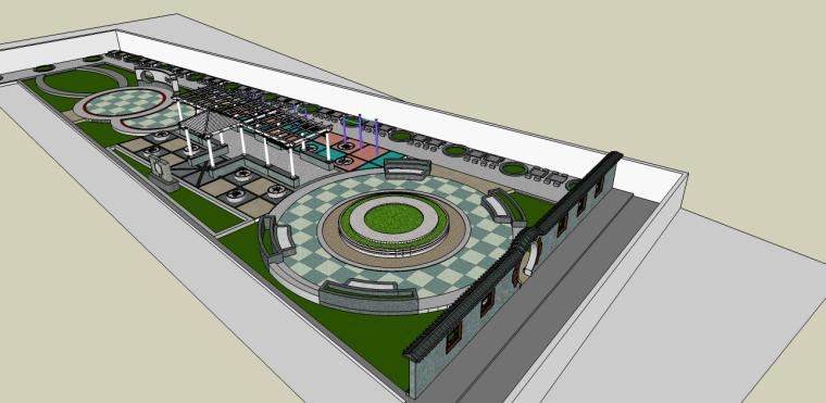 中式小广场公园景观su模型(象棋主题,含:公园运动器材)