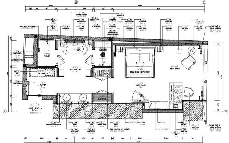 [广东]CCD-佛山市顺德罗浮宫索菲特酒店客房施工图+设计方案+效果图