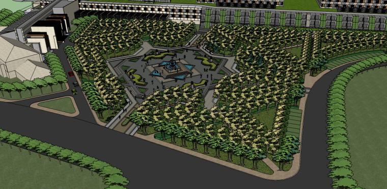 现代欧式商业办公广场景观su模型
