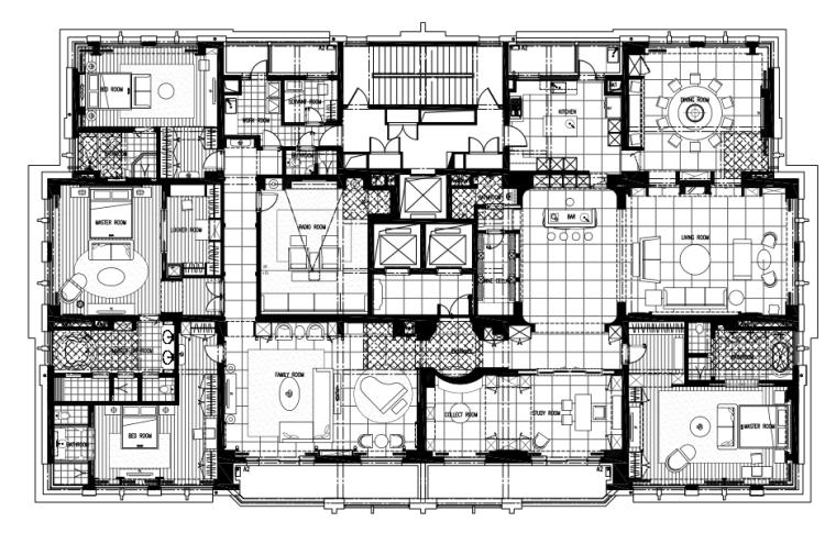 [上海]邱德光-上海黄浦滩名苑600户型全套CAD施工图+官方摄影+造价清单
