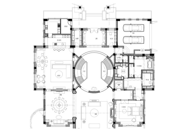 [北京]邱德光-金碧花园别墅样板房A户型全套施工图