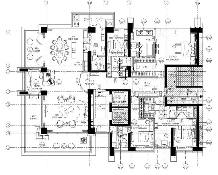 [广东]AB Concept-深圳前海壹方中心四居室样板房施工图+效果图+物料表