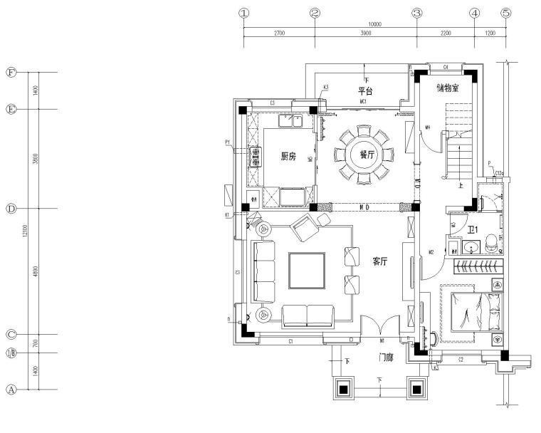 [广东]址山碧桂园四居室简欧风格别墅样板房施工图+概念软装方案+效果图
