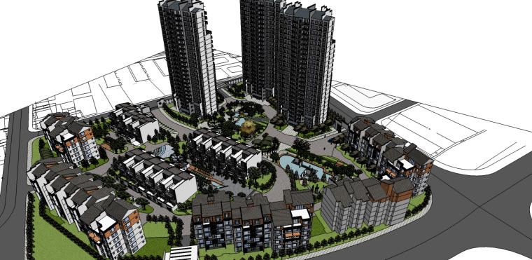中式风格居住区精细景观su模型