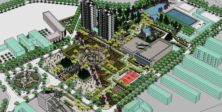 公园广场景观su模型(含,景观标示,景观灯,广场喷泉水景,镂空屏风)
