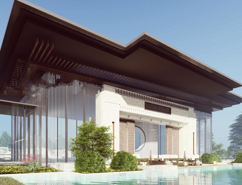 [安徽]華邦御府中式示范區居住區建筑模型設計(2018年)