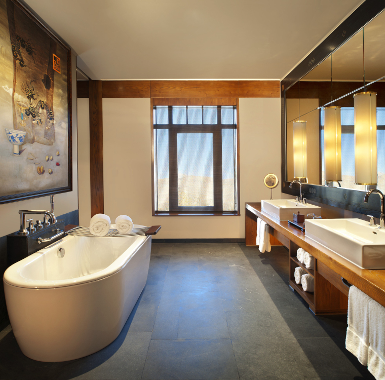 [西藏]拉萨瑞吉度假酒店装修施工图+实景图-The St. Regis Lhasa Resort—Deluxe Bathroom