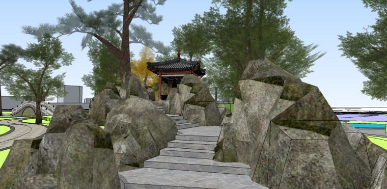 中式公园su模型