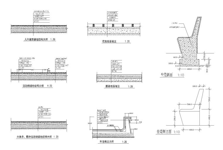 景观小品大样CAD施工图(园路铺装做法,水池做法大详,花架施工)