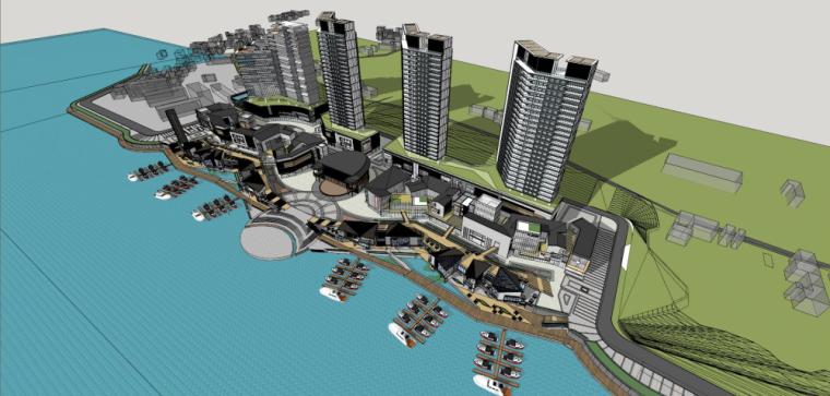 碧口水城滨河新中式商业+高层住宅建筑模型设计