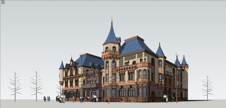 欧式风格古堡风幼儿园建筑模型设计