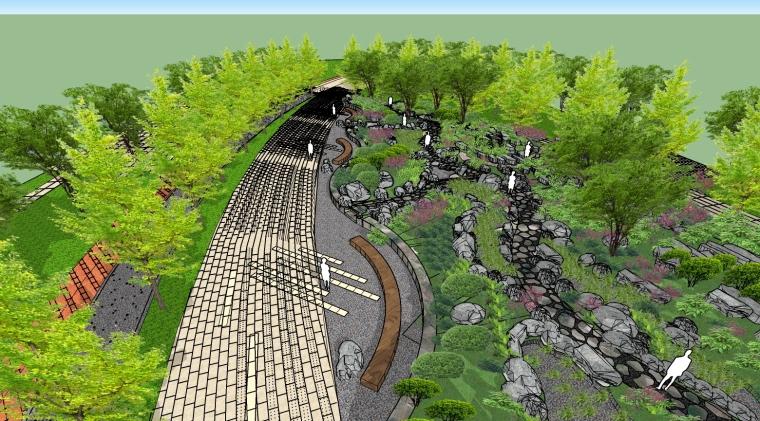 [上海]万科徐汇中心绿谷岩石园SU模型(公园景观)