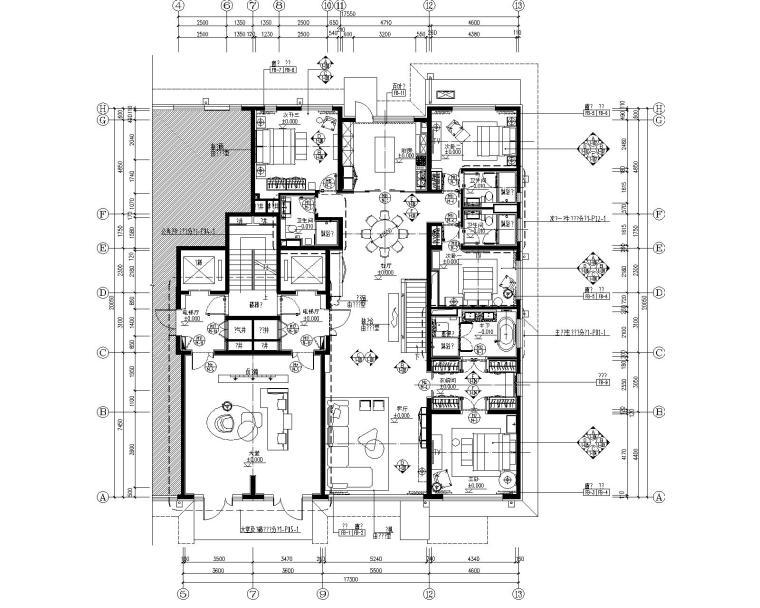 北京五矿万科如园四居室样板间CAD全套施工图+软装设计方案+效果图