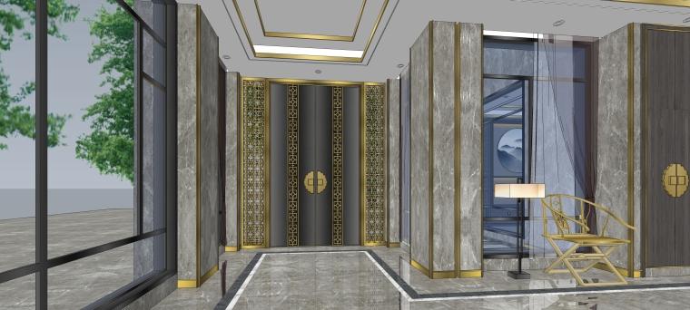 奢华中式风格别墅样板间精细模型(SU整套模型)