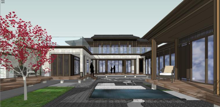 中式风格独栋合院别墅建筑模型设计