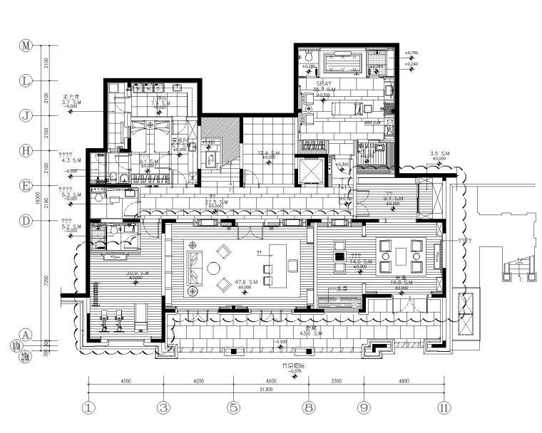 [云南]奥迅设计-昆明古滇样板房项目湖景林苑B区500A户型丨施工图+官方摄影