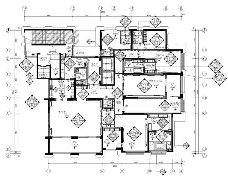 [江西]奥迅设计-新力洲悦五居室样板房丨全套CAD施工图+官方摄影