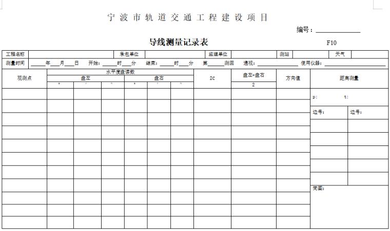 项目工程测量用表(含测量方案报审表)