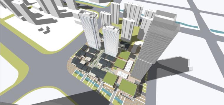 [江苏]金地南京超高层综合体+太古里建筑模型设计(中式风格)