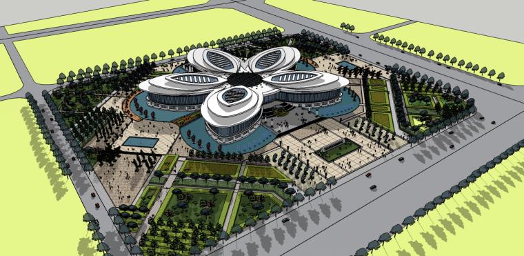 市民广场活动中心SU模型