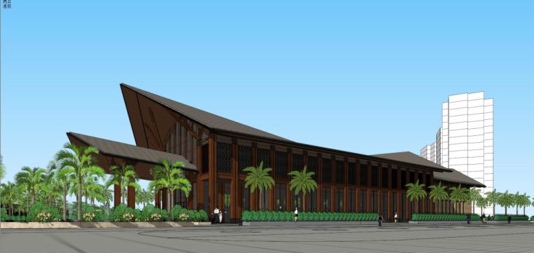 度假村中式会所+商业街建筑模型设计(2018年)
