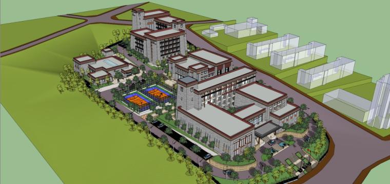 藏式风格办公、宿舍、接待中心、食堂建筑模型设计