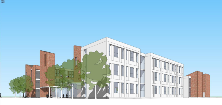 现代风格红砖小学建筑模型设计