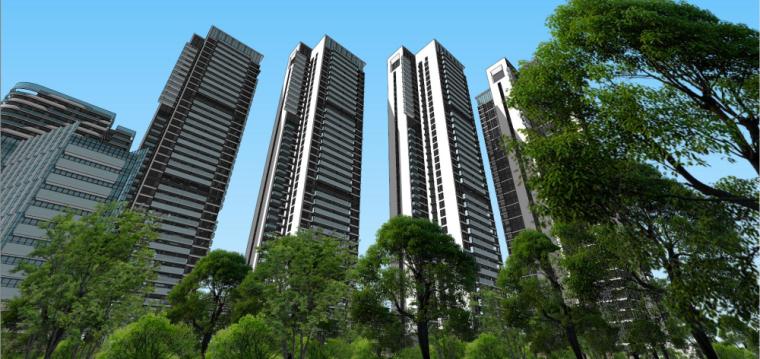 高层住宅+酒店公寓建筑模型设计(现代风格)
