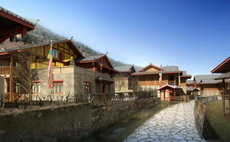 藏羌风格商业街建筑模型设计(2018年)