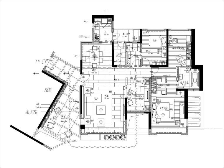 [深圳]梁志天-深圳浅水湾两室两厅户型样板间丨施工图+官方摄影