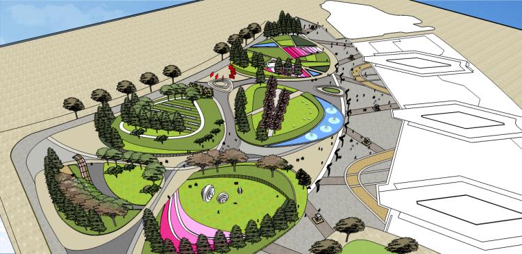 五河公园SU模型(现代公园su模型,圆三角元素)