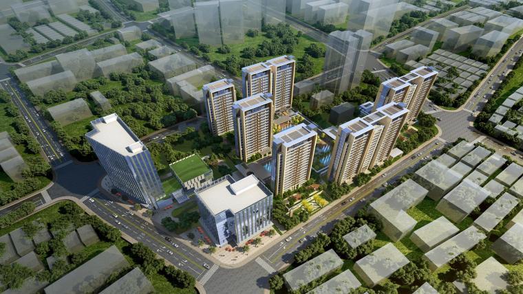 首创杨浦投标新亚洲风格高层+入口示范区建筑模型设计(天花设计)